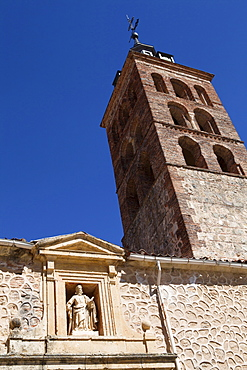 Spain, Castille-Leon, Segovia, Church tower of San Andres, Igelsia de San Andres.