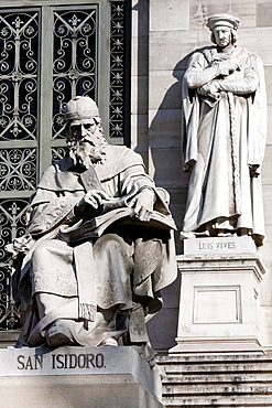 Spain, Madrid, Statues of San Isidoro & Luis Vives on the steps outside the National Library.