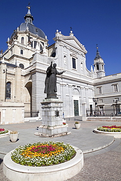 Cathedral de la Almudena with statue of Pope John Paul II in the courtyard