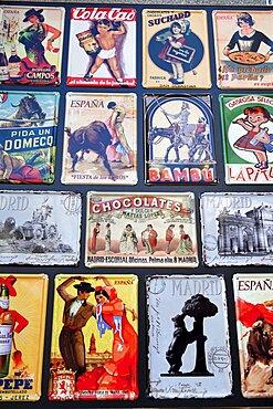 Spain, Madrid, Souvenir enamal plaques.