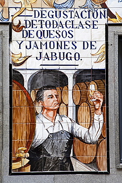 Spain, Madrid, Ceramic tiles for the shop front to a tapas bar.