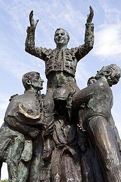 Spain, Madrid, Statue of a matador at the Plaza de Toros de las Ventas.