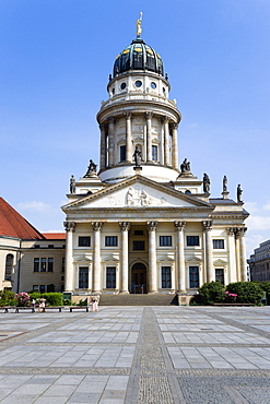 Germany, Berlin, Mitte, The French Cathedral, Franzosischer Dom, in the Gendarmenmarkt square built in 1701 for the Huguenot community.