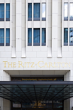 Germany, Berlin, Mitte, The Ritz Carlton Hotel entrance in Potsdamer Platz.