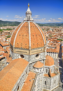 Italy, Tuscany, Florence, Duomo or Cathedral also known as Santa Maria del Fiorel, View of the dome from the cathedral's bell tower.
