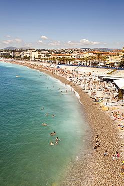 France, Nice, Baie Des Anges, Promenade Des Anglais, and beach.