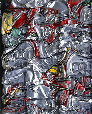 ENVIRONMENT Recycling Aluminium Cans crushed into a bundle and ready for recycling
