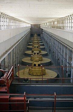TAJIKISTAN  Nurek Nine large turbines inside the hydroelectric power station. hydropower