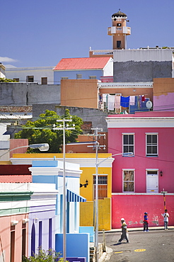 SOUTH AFRICA Western Cape Cape Town Colouful houses in Bo-Kaap  the historic Cape Muslim Quarter. Islam Bo-Kaap Capetown architecture South Africa travel tourism African Islamic Moslem Religion Religious Muslims Islam Islamic