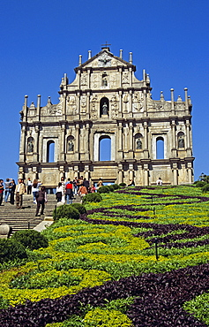 CHINA  Macau Saint Pauls Church. Travel Tourism Holiday Vacation Explore Recreation Leisure Sightseeing Tourist Attraction Tour St Saint Paul Pauls Church Macau China Chinese Asia Asian Far East Eastern Orient Oriental Churches Religion Religious Christianity Holy Divine Worship Worshipping Worshiping Christian Theology Pray Prayer Faith Sacred Tranquility Tranquil Peaceful Summer Bright Sunny Sun Blue Sky Building Architecture Architectural Historical Historic Monument Ancient Old Facade Ornate Vivid Vibrant Unique Design Baroque Stone Carved Carving Ruin Landmark People Visitors Tourists Sightseers Hill Hedge Garden Uphill Steps Hillside Vacation Chungkuo History Jhongguo Macauan Ou Mun Religion Religious Christianity Christians Zhongguo Jhonggu— Zhonggu—