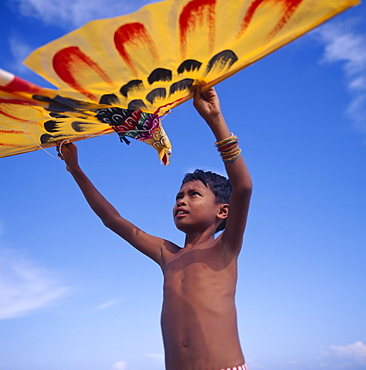 INDONESIA Lombok Timur Young boy holds up a yellow eagle shaped kite