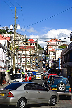 Traffic jam in Cross Street in the capital on market day, Caribbean