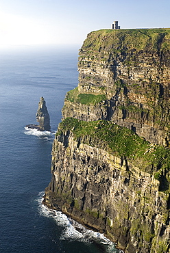 Ireland, County, Clare, Cliffs of Moher, The cliffs tower over the Atlantic Ocean for 8 kilometres along the coastline