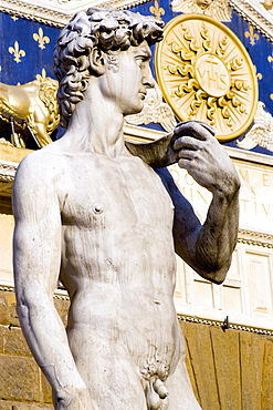 ITALY, Tuscany, Florence, The copy of the statue of David by Michelangelo standing outside the Palazzo Vecchio in the Piazza della Signoria