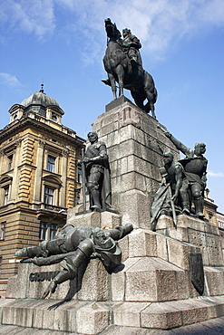 Poland, Krakow, Grunwald Monument by Marian Konieczny original by Antoni Wiwulski was destroyed in WWII on Matejko Square Equestrian figure of King Wladyslaw Jagiello with the standing figure of Lithuanian Prince Witold & the defeated figure of Ulrich von Jungingen at the base