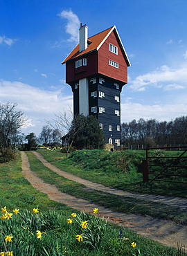 England, Suffolk, Thorpeness, Converted former water tower the House in the Clouds with daffodils growing beside footpath in the foreground