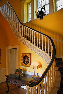 Ireland, County Westmeath, Belvedere House interior showing ornate staircase