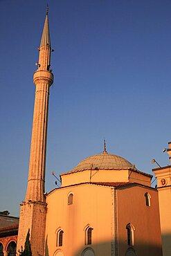 Albania, Tirane, Tirana, Mosque in Skanderbeg Sqaure.
