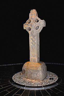 South Cross preserved in controlled atmospheric conditions, Clonmacnoise monastery, County Offaly, Ireland