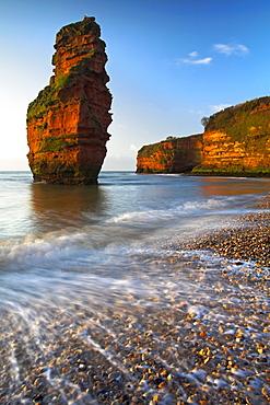 Red sandstone cliffs at Ladram Bay, Jurassic Coast, UNESCO World Heritage Site, Devon, England, United Kingdom, Europe