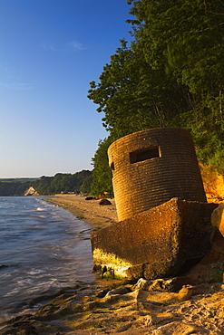 World War 2 pillbox on the beach at Studland Bay, Dorset, England, United Kingdom, Europe