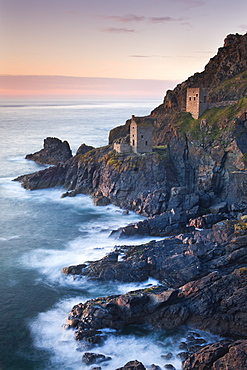 Remains of The Crowns tin mine engine houses on the Cornish Atlantic coast near Botallack, St. Just, Cornwall, England, United Kingdom, Europe