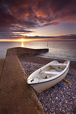 Sunrise over the beach at Sidmouth, Devon, England, United Kingdom, Europe