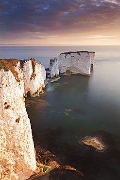 Old Harry Rocks at sunrise, Studland, Jurassic Coast, UNESCO World Heritage Site, Dorset, England, United Kingdom, Europe