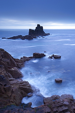 Twilight view from Land's End cliffs towards The Armed Knight island, Cornwall, England, United Kingdom, Europe
