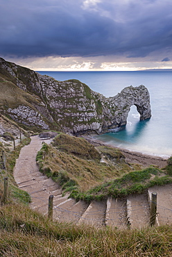 Steps leading down to Durdle Door on the Jurassic Coast, UNESCO World Heritage Site, Dorset, England, United Kingdom, Europe