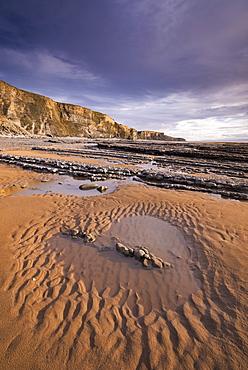 Tidal pools on the sandy beach near Dunraven Bay on the Glamorgan Coast, South Wales, Wales, United Kingdom, Europe