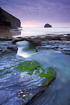 Eroded slate rocks at Trebarwith Strand in North Cornwall, England, United Kingdom, Europe
