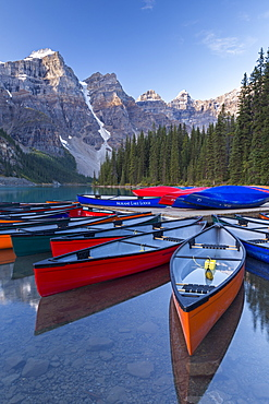 Canadian Canoes on Moraine Lake in Banff National Park, UNESCO World Heritage Site, Alberta, Canada, North America