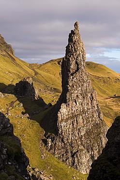 Needle Rock, one of the basalt columns standing alongside the Old Man of Storr, Isle of Skye, Inner Hebrides, Scotland, United Kingdom, Europe