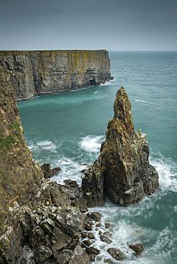 Sea Stack on the Pembrokeshire Coast, Wales, United Kingdom, Europe