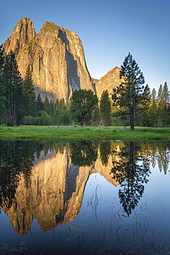 Morning sunshine on Cathedral Rocks, Yosemite Valley, UNESCO World Heritage Site, California, United States of America, North America
