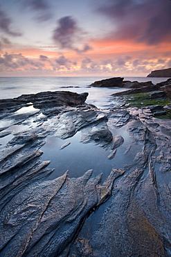 Sunset at Trebarwith Strand on the North Cornwall coast, Cornwall, England, United Kingdom,Europe
