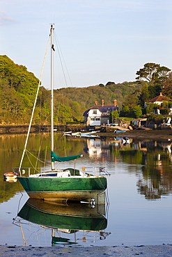Tranquil early morning scenes on the River Yealm estuary at Newton Ferrers and Noss Mayo, South Hams, Devon, England, United Kingdom, Europe