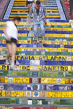 People walking down Selaron Steps (Escadaria Selaron), Lapa, Rio de Janeiro, Brazil