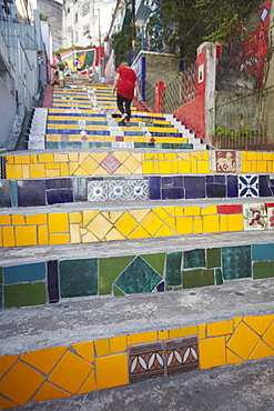 People on Selaron Steps (Escadaria Selaron), Lapa, Rio de Janeiro, Brazil, South America