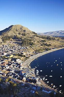 View of Copacabana, Lake Titicaca, Bolivia, South America