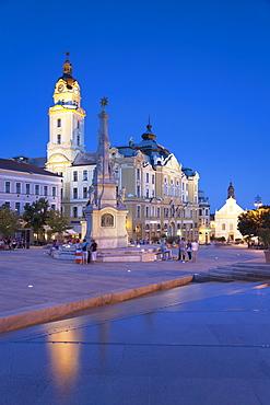 Szechenyi Square at dusk, Pecs, Southern Transdanubia, Hungary, Europe