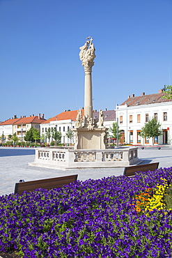 Trinity Column in Fo Square, Keszthely, Lake Balaton, Hungary, Europe