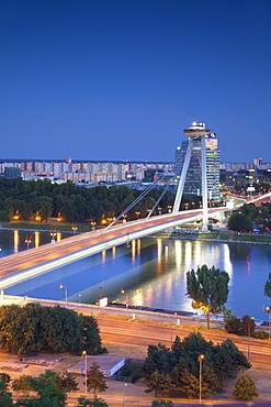 View of New Bridge over the River Danube at dusk, Bratislava, Slovakia, Europe
