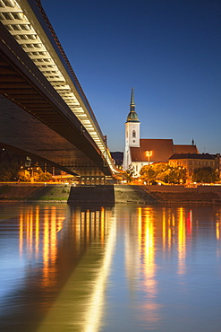 St. Martin's Cathedral and New Bridge over the River Danube at dusk, Bratislava, Slovakia, Europe