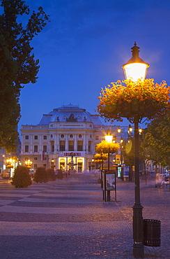 Slovak National Theatre at dusk, Bratislava, Slovakia, Europe