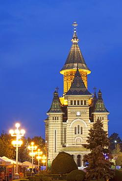 Metropolitan Cathedral in Piata Victoriei at dusk, Timisoara, Banat, Romania, Europe