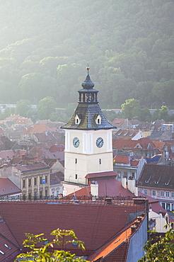 View of Council House in Piata Sfatului at dawn, Brasov, Transylvania, Romania, Europe