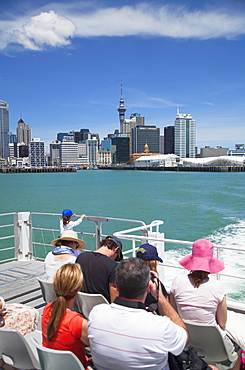 Passengers on ferry departing Waitemata Harbour, Auckland, North Island, New Zealand, Pacific