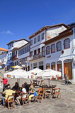 Outdoor cafe in square, Diamantina, UNESCO World Heritage Site, Minas Gerais, Brazil, South America